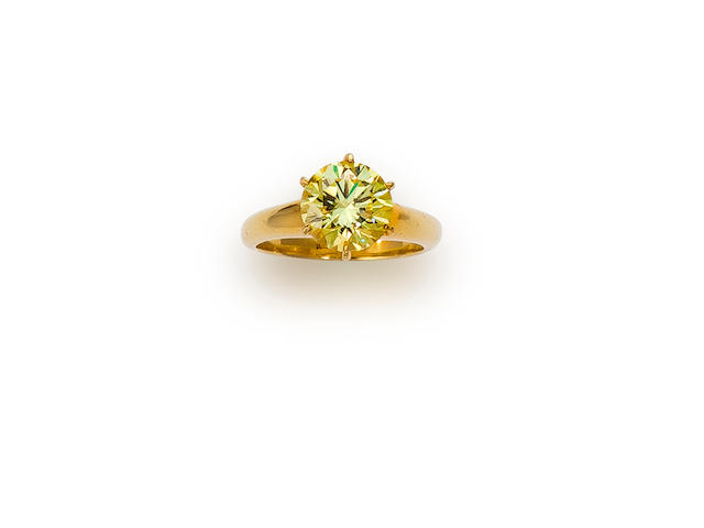 A fancy colored diamond solitaire ring