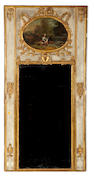 A Louis XVI paint decorated trumeau mirror<br>fourth quarter 18th century