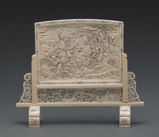 A Shibayama school two-section ivory table screen Meiji period