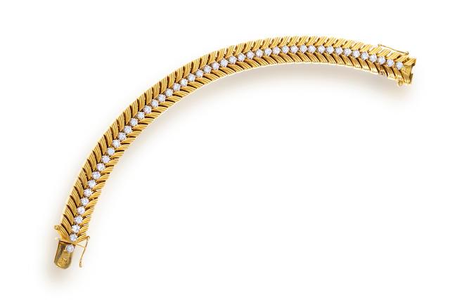 An eighteen karat gold and diamond bracelet, Cartier