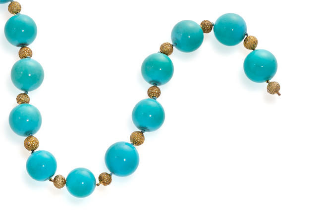 A turquoise and colored diamond necklace