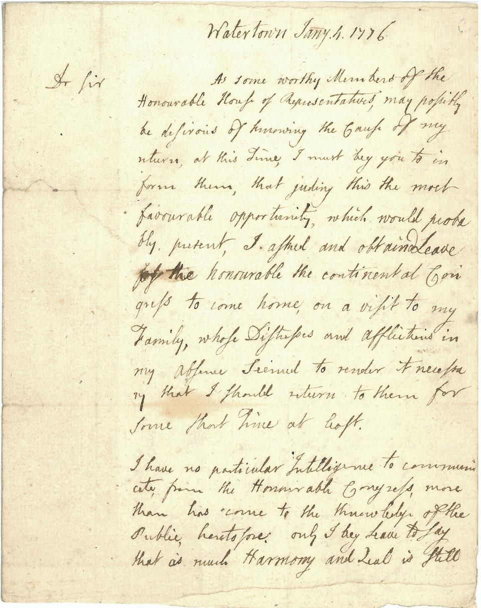 """ADAMS, JOHN. 1735-1826. Autograph Letter Signed (""""John Adams""""), 2 pp, 4to(conjoined leaves), Watertown, January 4, 1776,"""