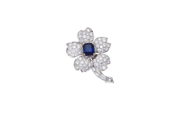 A sapphire and diamond brooch, Van Cleef & Arpels,