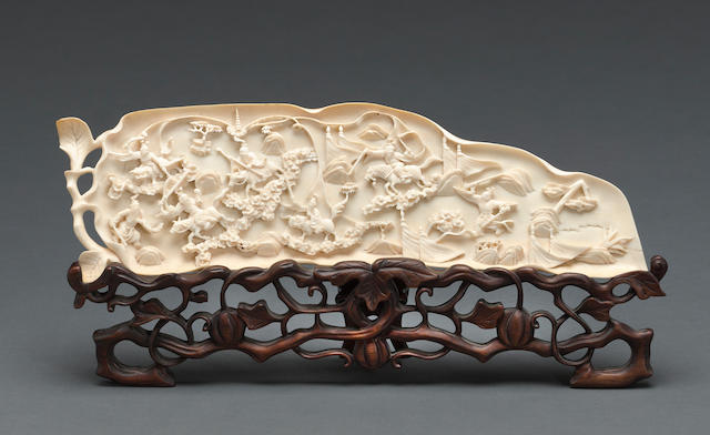 A reticulated ivory leaf-shaped plaque Late 19th century