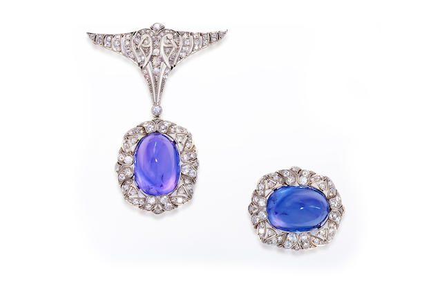 An art deco color-change sapphire and diamond brooch,