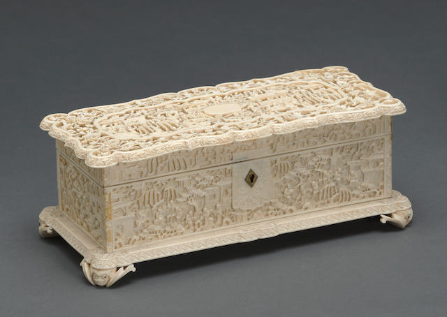 A pieced export ivory hinged box and cover 19th century