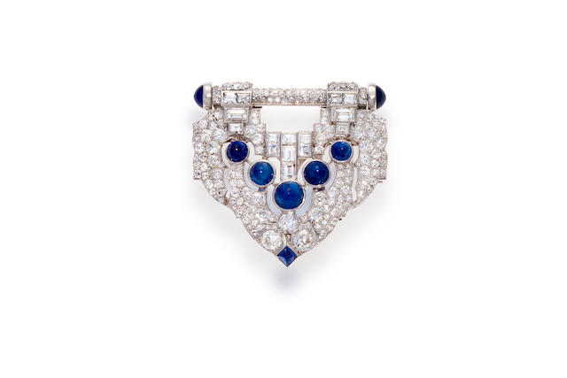 An art deco sapphire and diamond clip-brooch, J.E. Caldwell,