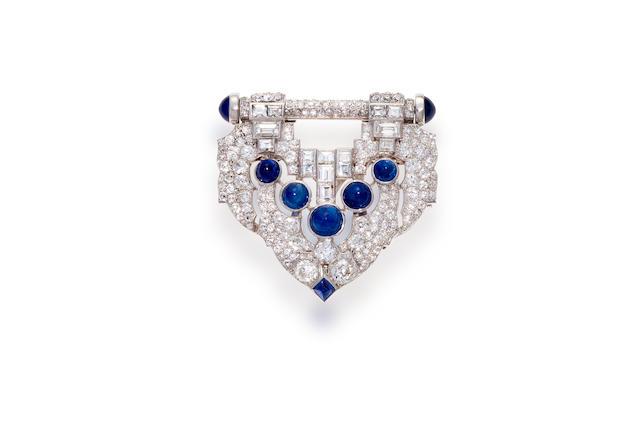 An art deco sapphire and diamond clip-brooch, J.E. Caldwell,