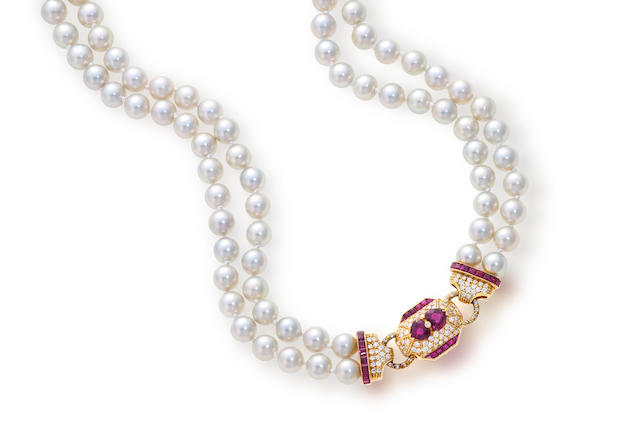 A cultured pearl, diamond and ruby necklace, David Morris