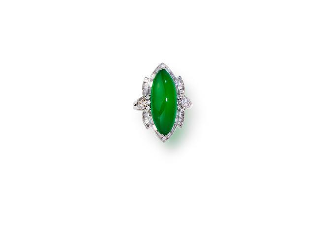 A jadeite jade and diamond ring, Marsh