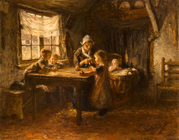 Bernardus Johannes Blommers (Dutch, 1845-1914) The mid-day snack 28 3/4 x 36 3/4in (73 x 93cm)