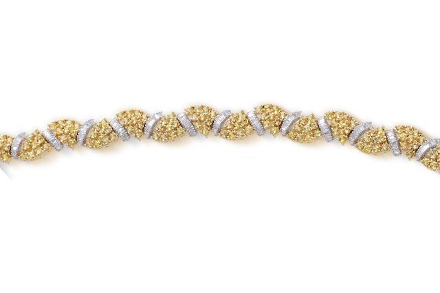 A yellow sapphire and diamond bracelet