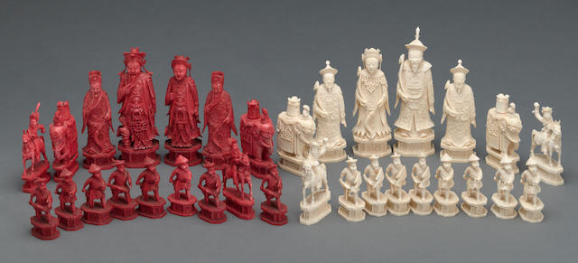 A tinted ivory export chess set 19th century
