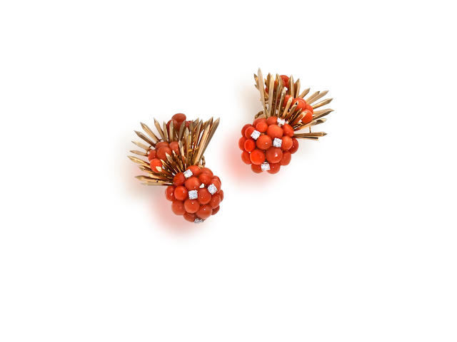 A pair of coral and diamond earclips, Schlumberger, Tiffany & Co.,
