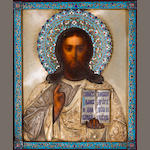 A Silver and Parcel-Gilt Silver and Enamel Icon of Jesus Stamped AZ, Kostroma, circa 1899-1903, 10 1/8 x 8 1/2""