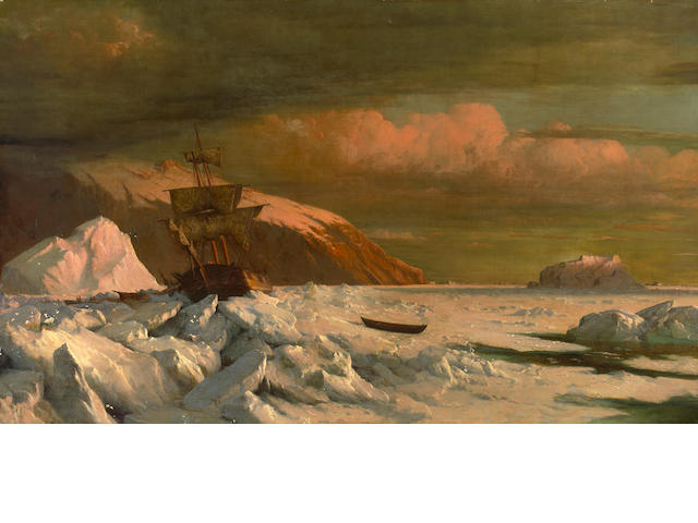 William Bradford (American, 1823-1892) Ship trapped in pack ice 45 3/8 x 74 1/2in