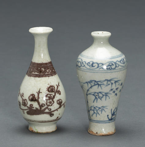 Two miniature porcelain vases with underglaze decoration Yuan/Ming dynasty