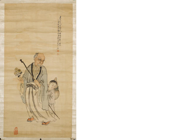 Two scrolls of two figures, one attributed to Su Liupeng
