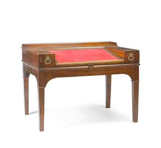 An Italian Neoclassical brass mounted walnut architect's desk first quarter 19th century