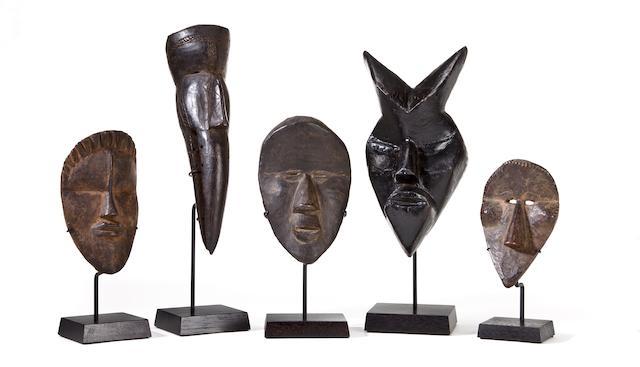 Five Large Dan Passport Masks, Liberia/Ivory Coast