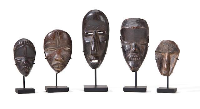 Five Dan Passport Masks, Liberia/Ivory Coast