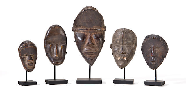 Five Dan Passport Masks, Liberia/Ivory Coast