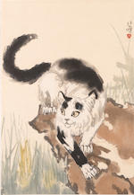 After Xu Beihong (1895-1953) Cat, and Yu Feihan (1912-2000) Cranes and Pine, two hanging scrolls