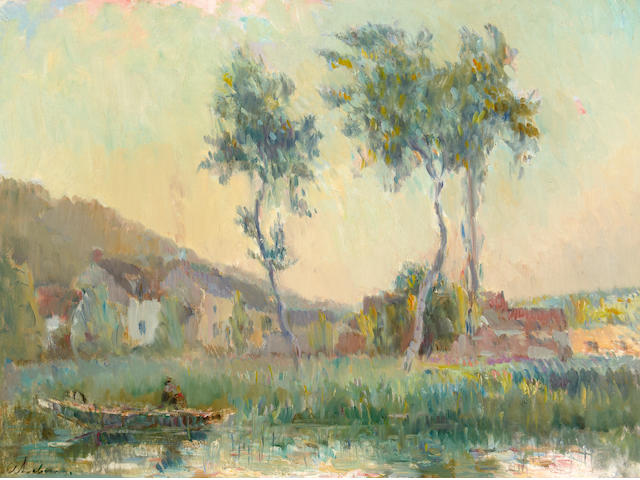 Albert Lebourg (French, 1849-1926) Landscape with Trees and Houses along a River 21 1/2 x 28 3/4in
