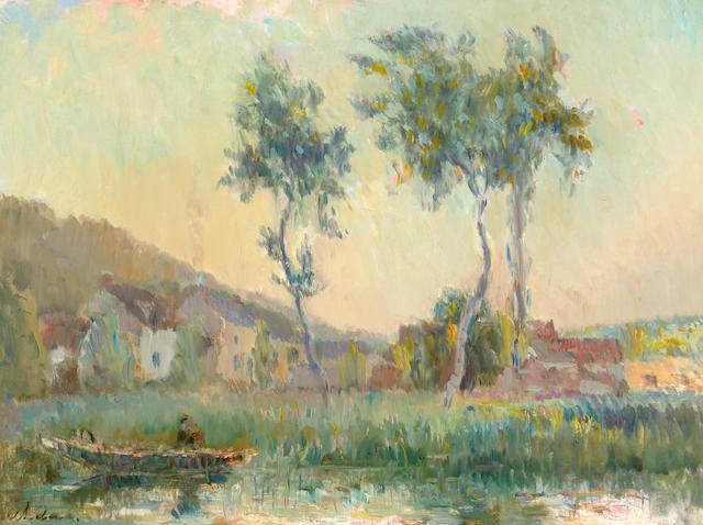Albert Lebourg (French, 1849-1928) Le Hameau de la Gendarmerie à Chalou-Moulineux