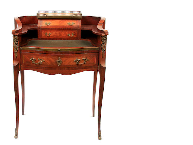 A Louis XVI style inlaid walnut bureau