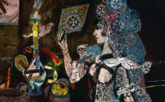 Augustin Ubeda (Spanish, 1925-2007) Mujer con mantilla 32 5/16 x 51 3/8in (82 x 130.5cm)
