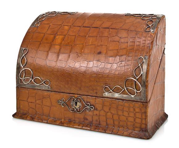 An alligator skin desk caddy  9 x 12 x 6 in. (22.9 x 30.5 x 15.2 cm.)