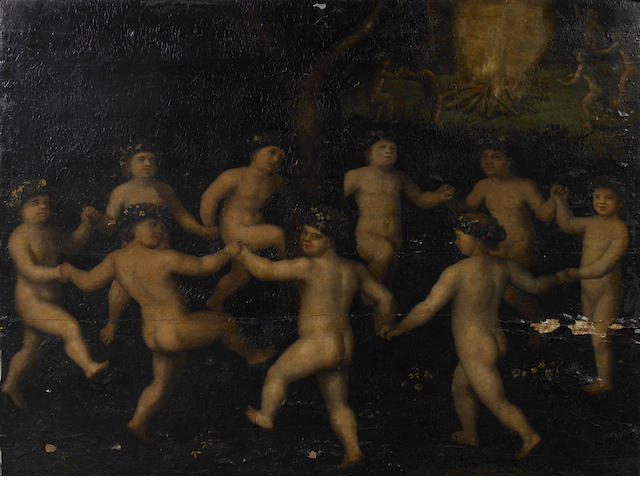 Continental School Putti dancing 23 x 30 1/2in
