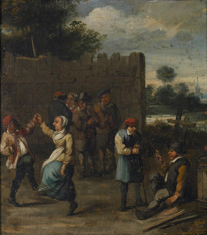 Follower of David Teniers the Younger (Antwerp 1610-1690 Brussels) A village celebration 17 x 15in