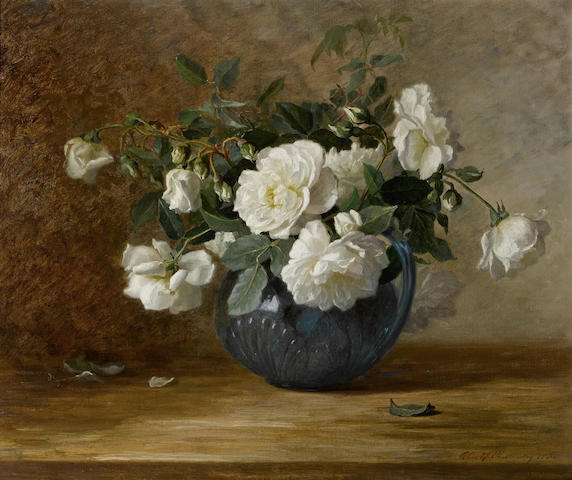 Alice Brown Chittenden (American, 1859-1944) White roses in a blue vase, 1885 20 x 24 1/4in