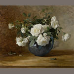 Alice Brown Chittenden (American, 1859-1944) White roses in a blue vase 20 x 24 1/4in