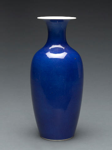 A powder blue glazed porcelain baluster vase 19th century