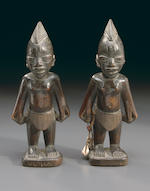 Rare Yoruba Pair of Ibeji Figures, Nigeria, by Salakatu Ayo of Adugbologe