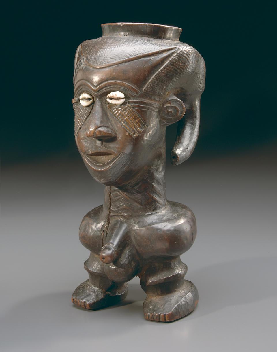 Rare, Large Kuba Anthropomorphic Ritual Cup, Democratic Republic of the Congo