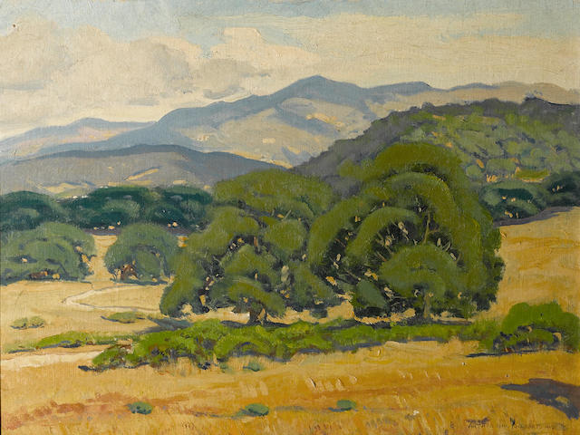 Arthur Hill Gilbert, Oak Clad Hills, oil on board, 22 x 3 x 18