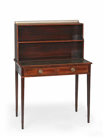 A Regency boxwood lined mahogany writing desk <br>circa 1800