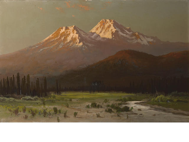 Frederick Ferdinand Schafer (German/American, 1839-1927) Sunset on Mt. Shasta from Sissons, California 18 x 28 1/4in