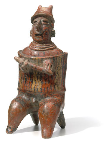 Nayarit Seated Warrior, San Sebastián Red Style,<br>Protoclassic, ca. 100 B.C.-A.D. 250
