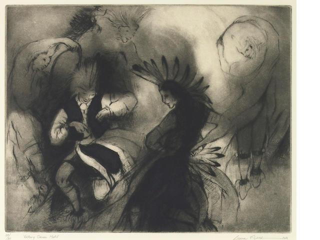 Gene Kloss, 'Victory Dance Motif', etching
