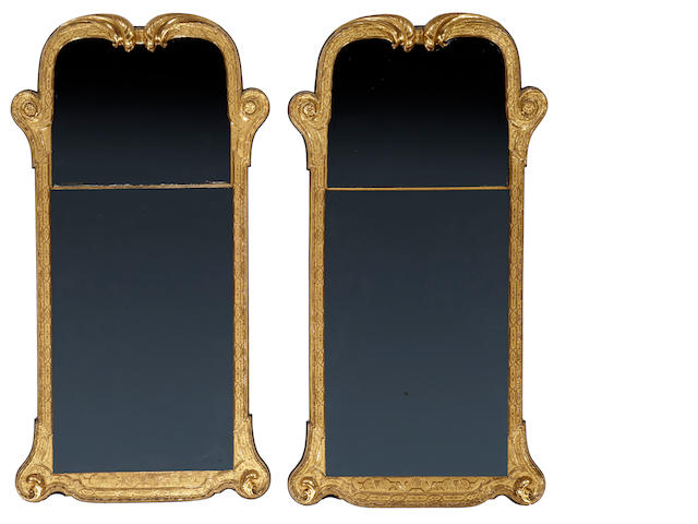 A fine pair of George I giltwood pier mirrors<br>early 18th century