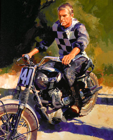 **ON INSPECTION** An oil on canvas painting of Steve McQueen on a Triumph, framed