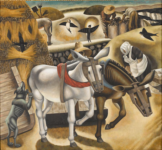 Chambers, Threshing #4, oil on canvas
