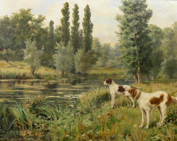 Percival Leonard Rousseau (1859-1937), English setters on a river bank, Signed, Oil on canvas, 25 x 31 inches