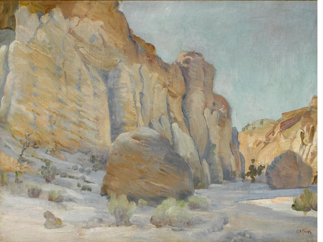 Charles A. Fries (American, 1854-1940) Palisades in Hidden Springs Canyon 18 x 24in