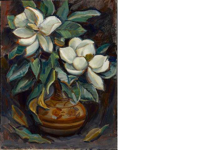 Donna N. Schuster (American, 1883-1953) Magnolias in a vase 27 x 21in unframed